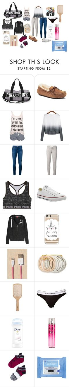 """Packing for a sleepover"" by littleowl4474 on Polyvore featuring UGG Australia, Rut&Circle, Frame Denim, Moncler, Victoria's Secret, Converse, NIKE, NARS Cosmetics, Casetify and Le Cord"