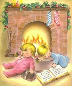 Vintage Christmas Card Unused Asleep Waiting by TheVintageGreeting