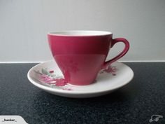 Crown Lynn Plum Colour Glaze Tulip Cup & Saucer for sale on Trade Me, New Zealand's auction and classifieds website Plum Colour, Color Glaze, Cup And Saucer, Tulips, Tea Cups, Porcelain, Pottery, Crown, Tableware
