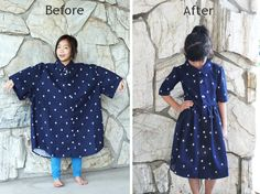 Men's XL shirt into a girl's dress. Tutorial (Not precise, but it does the job. Pictures major plus.)