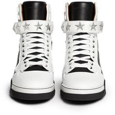 GIVENCHY 'Tyson' high top star stud leather sneakers (1 125 AUD) ❤ liked on Polyvore featuring shoes, sneakers, black high tops, black white sneakers, black shoes, black high top shoes and white high top sneakers