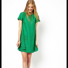 Green short sleeve mini dress / tunic Green tunic, short sleeve, stretchy, fits sizes medium and large Dresses Mini