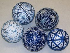 Temari Balls - blue/white color scheme would be great for winter.