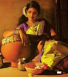 Tamilnad girl Indian Women Painting, Indian Art Paintings, Indian Artist, India Painting, Painting Of Girl, Indian Drawing, Indian Photoshoot, India Art, Realistic Paintings
