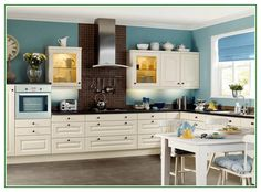 Awesome White Paint Colors For Kitchen Cabinets And Blue Wall Colors
