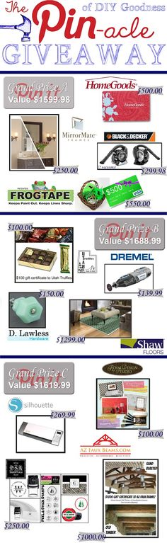 A new giveaway with $5000 worth of prizes to be had. Come see :). http://homestoriesatoz.com/uncategorized/the-pin-acle-of-diy-goodness-giveaway.html