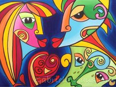 """Original acrylic painting 30""""x40"""" abstract faces, # intuitivepainting # art # modern art # contemporary art # painting # abstract paintings"""