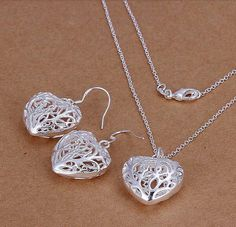 Silver Jewellery Sets – Sterling Silver Filigree Heart Pendant Set – a unique product by clutchandclasp-rose on DaWanda