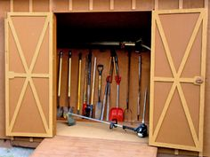 Garden Shed Plans Info: 8921931428 Bicycle Storage Shed, Diy Storage Shed, Storing Garden Tools, Garden Tool Shed, Garden Sheds, Shed Building Plans, Diy Shed Plans, Backyard Bar, Backyard Sheds