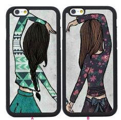Cute Best Friend Girls Couples Case for Iphone 6 6s 4S 5S SE,Iphone 6 Plus,Iphone 7 Case,Iphone 7 Plus,Galaxy S6 S5 S4 S3 S7,Galaxy Note 6 5 4 3 2,Galaxy S5 Mini,S6 Active,S6 Edge,Galaxy S6 Edge Plus,Samsung Galaxy S7 Edge,S7 Plus,Samsung Galaxy S7 Active - Couples Cases