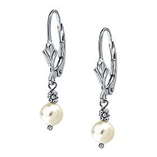 14K White Gold Earrings with Freshwater Pearls