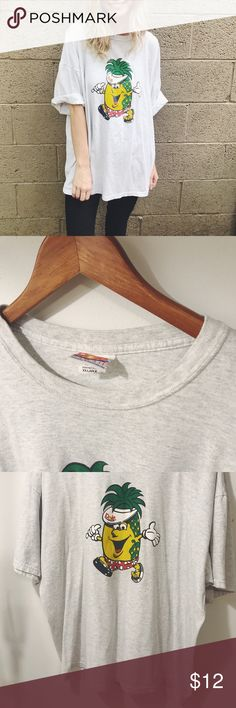 """Pineapple Grey Graphic T-Shirt Cozy big Pineapple tshirt with the saying  """" hug a pineapple """" on the back! -  cute to wear with leggings or skinnies! Feel free to give best offer! Tops Tees - Short Sleeve"""