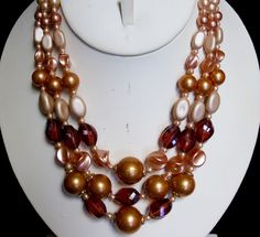 Vintage Hong Kong Multi Strand Pearly AB Root Beer  Gold Glitter Beads Necklace #HongKong #VintagePlasticsMultiStrandBeadedNecklace