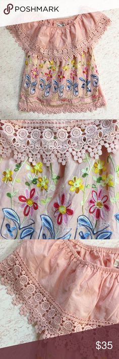 """Boho Pink Embroidered Festival crochet crop top Length: 21.5"""" Underarm: 16.5"""" Size: small - great condition  All items are measured with garment laying flat. If you have any questions feel free to ask. Check out my other items listed. Amor Mio Tops Crop Tops"""