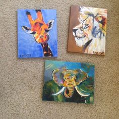"""Acrylic paintings by yours truly Three medium sized hand paintings. Acrylic on stretched canvas. 13"""" x 11"""" Other"""