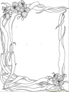 Wild Nature Frame Coloring Page Pages Book Flower