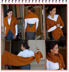 How easy this would be to make. The pattern is a Russian knitted pattern, but crochet your favorite rectangle shawl or scarf pattern and add buttons in just the right places. Knitted Shawls, Crochet Scarves, Crochet Clothes, Diy Clothes, Knit Or Crochet, Crochet Shawl, Knitting Patterns, Crochet Patterns, Shawl Patterns
