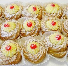 Zeppole. This looks like an easier recipe because you can bake them instead of frying them. YUM!
