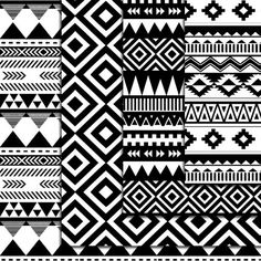 12 Seamless Black And White Aztec Digital by DigitalMagicShop