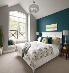 teal accent wall with light gray walls | dream home | pinterest
