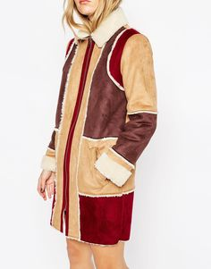 Image 3 ofASOS Coat in Patchwork Faux Shearling