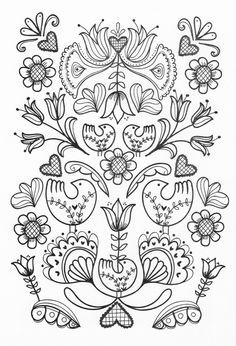 Folk Embroidery Patterns scandinavian folk art coloring book plus adult coloring page coloring pages for kids pdf 231 Free Adult Coloring Pages, Coloring Book Pages, Coloring Sheets, Coloring Pages For Grown Ups, Scandinavian Embroidery, Scandinavian Folk Art, Folk Embroidery, Embroidery Patterns, Bordado Popular
