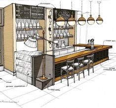 Sketches: a fragment of a bar counter small … Sketches: a fragment of the bar counter of a small restaurant in Astana. Everything is still under construction. Sketch of a small restaurant in Astana. All is under construction. Coffee Shop Interior Design, Coffee Shop Design, Cafe Design, Store Design, Small Restaurant Design, Sketch Restaurant, Bar Counter Design, Bar Plans, Interior Design Sketches