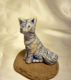 Delfty Fox Sculpture, Hand-Sculpted, Blue and White Textured Polymer Clay