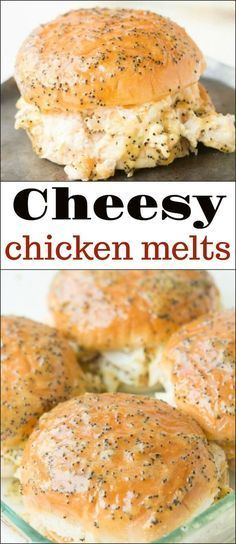 Cheesy Chicken Melts - Oh Sweet Basil - These Creamy Cheesy Chicken Melts are AMAZING! Don't mistake them for the ham sliders you often s - Ham Sliders, Slider Sandwiches, Chicken Sliders, Tailgate Sandwiches, Baked Sandwiches, Turkey Sliders, Chicken Melt Recipe, Chicken Recipes, Chicken Meals