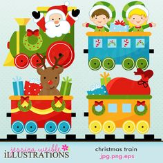 Christmas Train clipart set comes with 5 train graphics with Santa, Elves, Reindeer and Presents in Train Cars.