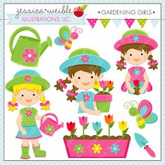 Gardening Girls Cute Digital Clipart for Commercial or Personal Use, Spring Flower Girl, Garden Graphics
