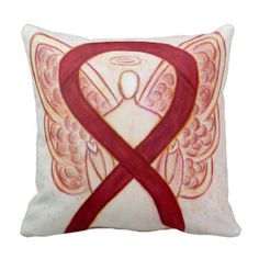 Burgund Awareness Ribbon Angel Custom Gift Pillows