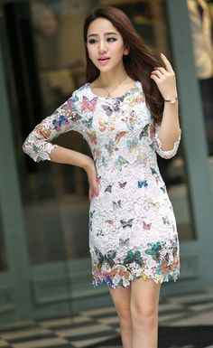 d26a313b77a Freedi Hollow Seven Sleeve Lace Butterfly Print Temperament Slim Dress at Amazon  Women s Clothing store