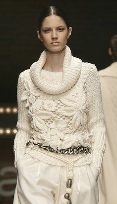 Laura Biagiotti winter white sweater is gorgeous!