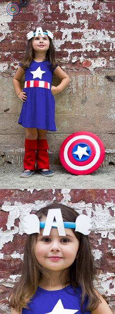 No damsels in distress here. DIY Captain America Costume - Start with the Primary t-shirt and twirly skirt in cobalt (or the slate blue pjs if you prefer pants). Cut out paper for headband adornments and stars, white masking tape + red sharpie for belt. and a painted garbage can lid makes a great shield! Primary offers simple, high quality basics in brilliant colors for kids 0-10.