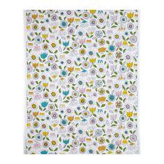 SMÅBORRE Fabric, white, multicolour floral patterned