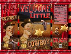 Printable Potato Chip Bags PDF | Baby Shower Cowboy Western Wild West Red Bandana Black Wood | Gift Bag Party Favors Western Wild, Cowboy Western, Candy Buffet Bags, Brochure Paper, African Babies, Denim And Diamonds, Banner Backdrop, Chip Bags, Red Bandana