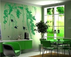 Cool Green Abstract Birds Tree Wall Murals Stickers for Modern Dining Room Decorating Designs Ideas