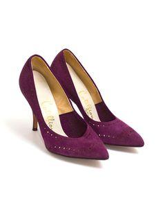 1950s Vintage Purple Suede Pumps, Midcentury 50s Brogue Stiletto Wood Veneer Party Heels by Cotillion 6B