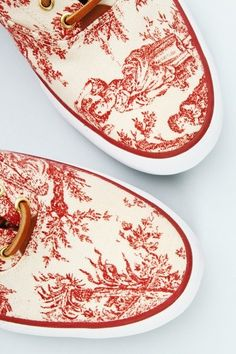 Keds for Opening Ceremony Low Top Tennis Shoes ~ Red and white toile print.