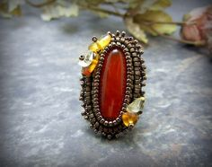 Your place to buy and sell all things handmade Gemstone Properties, Filigree Ring, Brass Color, Matte Gold, Carnelian, Clear Quartz, Healing Stones, Cocktail Rings, Antique Brass