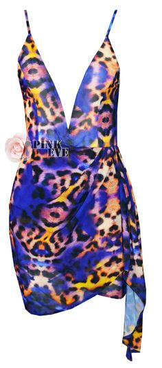 2014 Free shipping  Fashion Color Leopard Sexy V-neck halter dress  TB 6186 $22,32