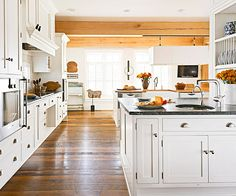 Storage-laden islands are excellent additions to any kitchen. Make sure your island has between 42 and 48 inches on each side so that people in wheelchairs or other mobility devices can move easily throughout the work space.