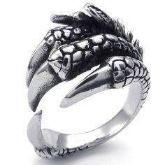 KONOV Bijoux Bague Homme - Gothique Griffe du Dragon - Acier Inoxydable - Anneaux - Fantaisie - pour Homme - Couleur Noir Argent - Avec Sac Cadeau - F23377 - Taille 60