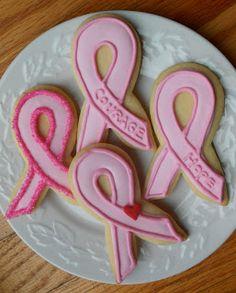 Pink Ribbon Cookies at Bakeoutsidethebox.blogspot.com
