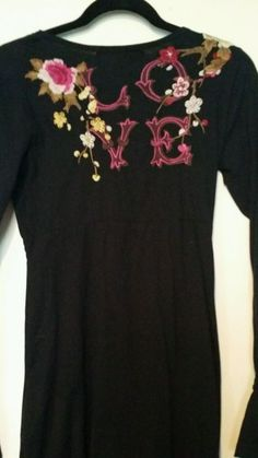 EUC JWLA Johnny Was Los Angeles Black Embroidered Dress Empire Waist Sz M Cotton…