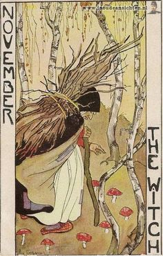 """""""The Witch"""", November, Months of the year postcard series, Rie Cramer (1887-1977), Netherlands, (134-9)"""