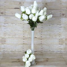42 Artificial Giant Velvet Rose Buds Wedding Flower Bouquet Centerpiece Decor - Ivory