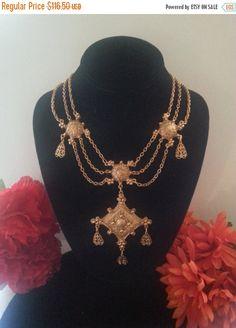 Now On Sale Vintage Egyptian Revival Necklace by MartiniMermaid ~ETS #egyptianrevival #vintagenecklace #vogueteam