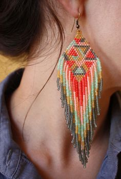 DECEMBER DAY 12 SALE Native American style bead earrings feather long geometric grey peach sea foam green bright. $75.00, via Etsy.